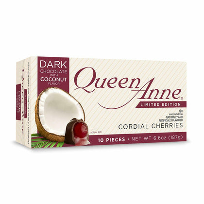 Queen Anne Dark Chocolate with Coconut Flavor Cordial Cherries, 6.6oz