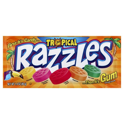Razzles Candy Coated Tropical Mix, Single, 1.4oz