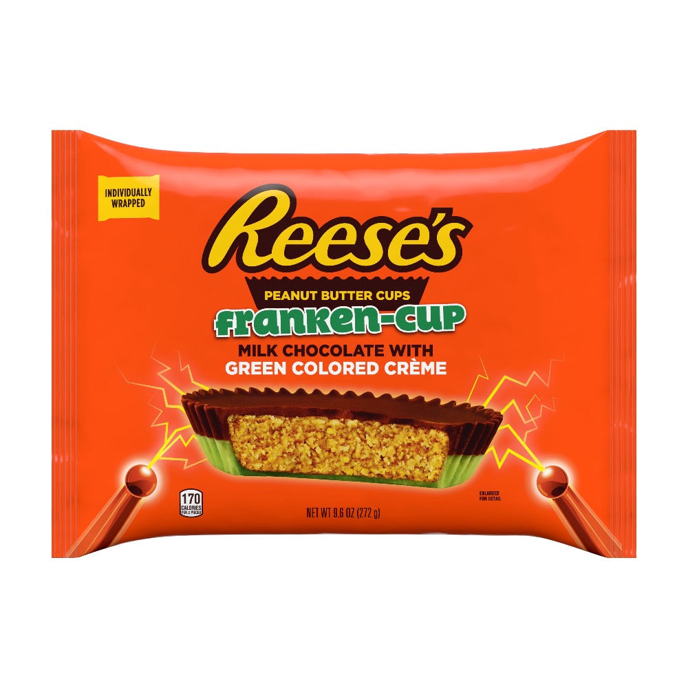 Reese's Franken-Cups Peanut Butter Cup with Green Creme, Snack Size, 9.6oz