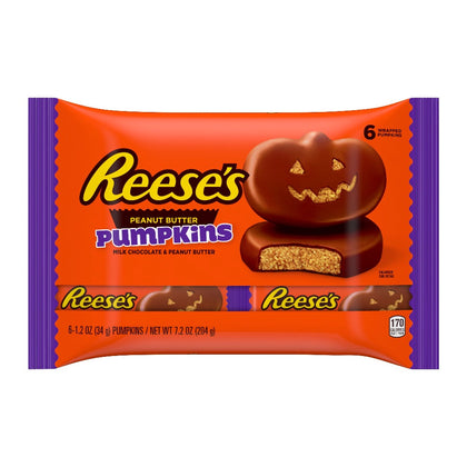 Reese's Halloween Milk Chocolate Peanut Butter Pumpkins Candy, 7.2oz/6Ct