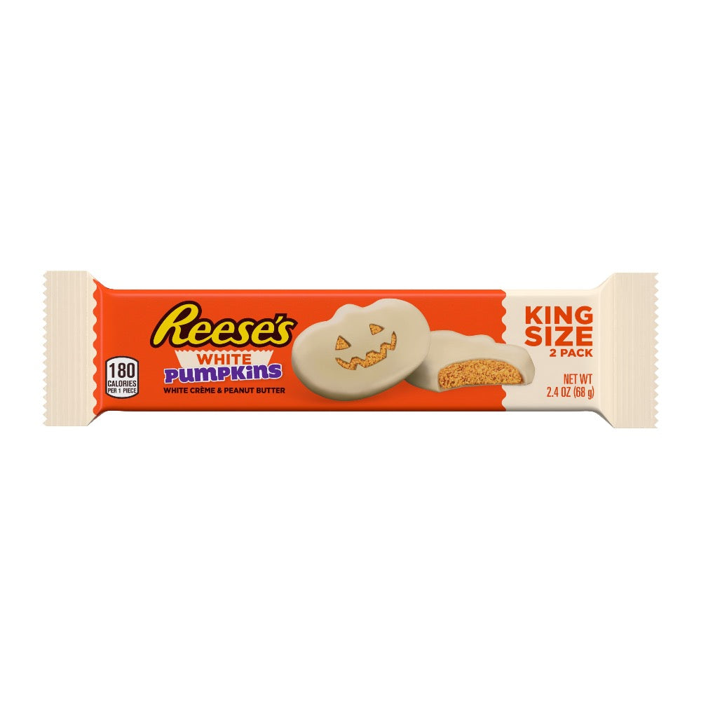 Reese's Halloween White Crème Peanut Butter Pumpkin, King Size, 2.4oz