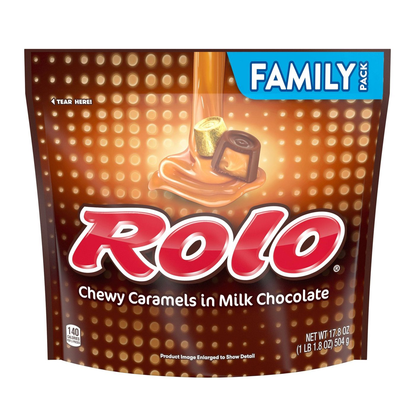 Rolo, Milk Chocolate and Caramel Candy, Family Size, 17.8oz