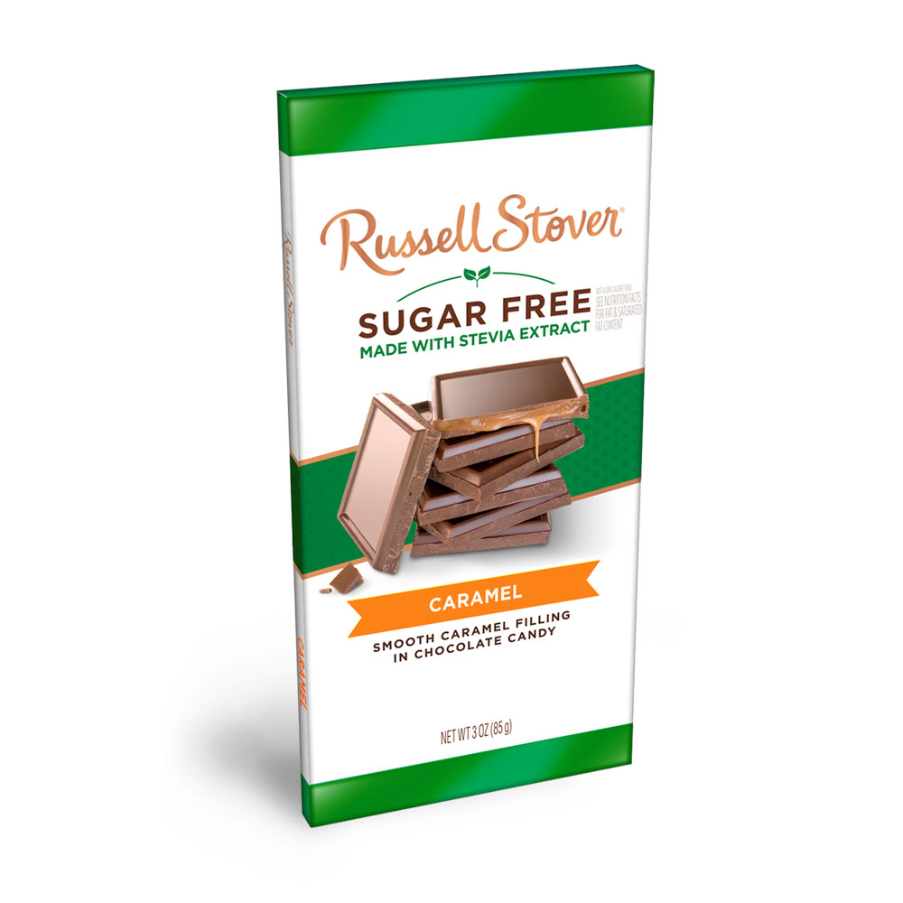 Russell Stover Sugar Free Caramel & Chocolate Candy Bar, 3oz