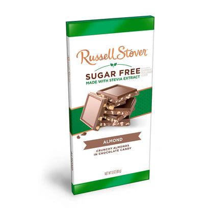 Russell Stover Sugar Free Almond & Chocolate Candy Bar, 3 oz