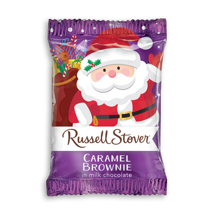 Russell Stover Caramel Brownie in Milk Chocolate Santa, 1oz