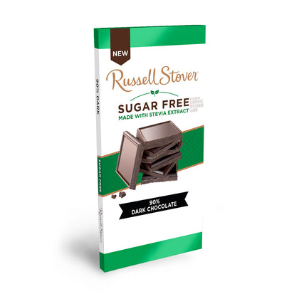 Russell Stover Sugar Free 90% Dark Chocolate, 3oz Bar