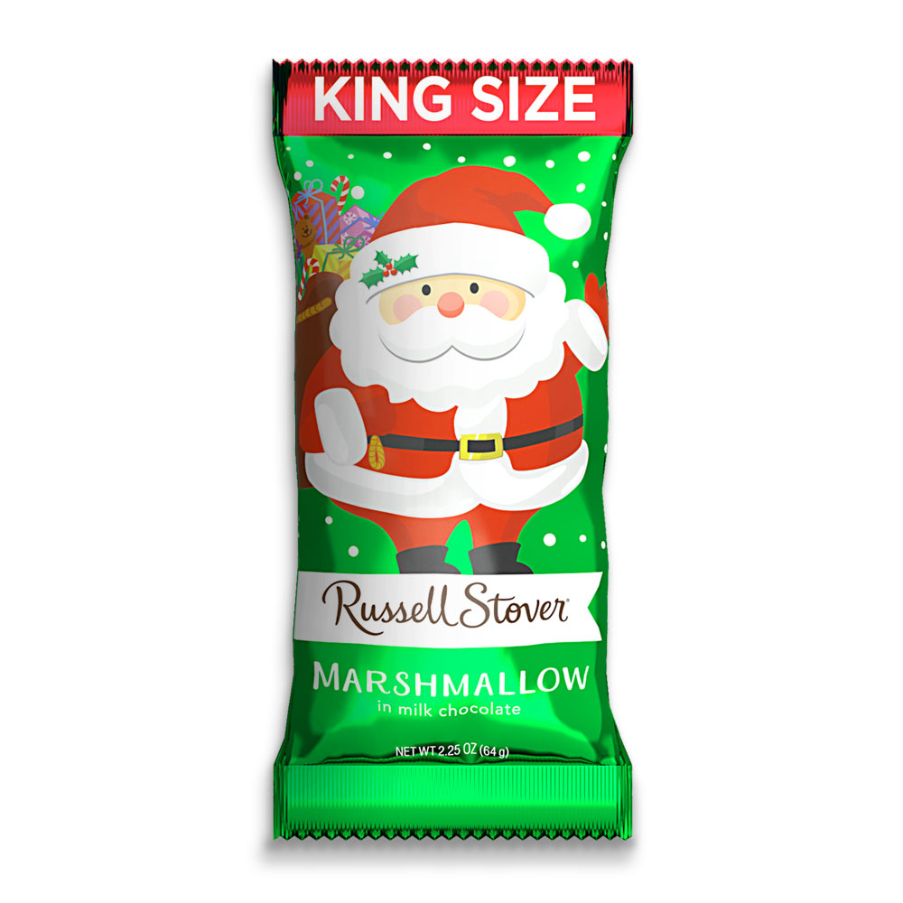Russell Stover Milk Chocolate Marshmallow Santa, King Size, 2.25oz