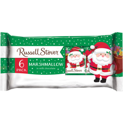 Russell Stover Marshmallow in Milk Chocolate Santas, 6ct, 6oz