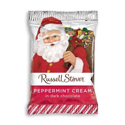 Russell Stover Dark Chocolate Peppermint Cream Santa, 1oz