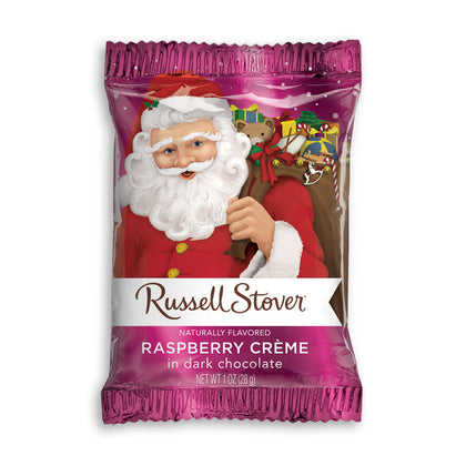 Russell Stover Raspberry Cream in Dark Chocolate Santa, 1oz