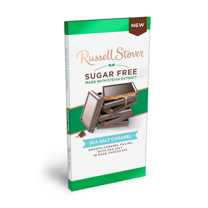 Russell Stover Sugar Free Dark Chocolate Sea Salt Caramel, 3oz Bar