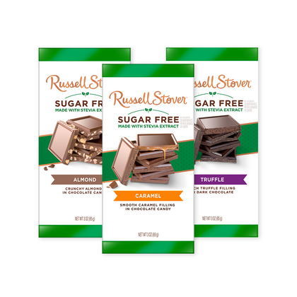 Russell Stover Sugar Free Chocolate Bar, Almond, Caramel, Truffle Variety Pack