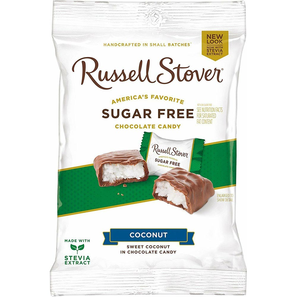 Russell Stover Sugar Free Sweet Coconut in Chocolate Candy,  3 oz. Bag