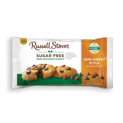 Russell Stover Sugar Free Semi Sweet Style Baking Chips, 8oz