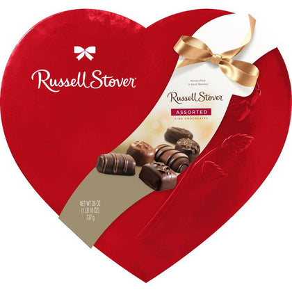 Russell Stover Valentine's Assorted Chocolates Red Foil Heart, 26oz