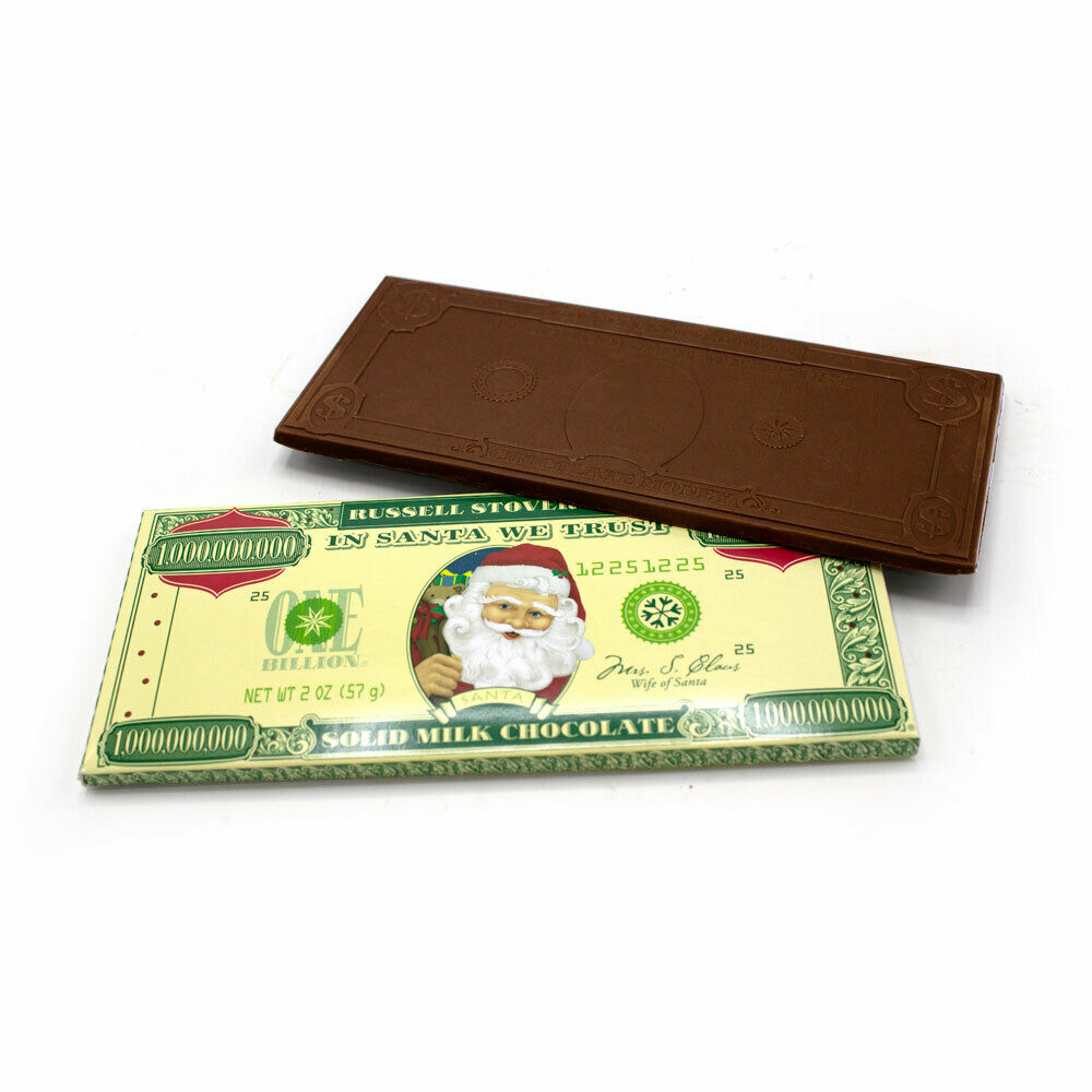 Russell Stover Solid Milk Chocolate Santa Money, 2 oz. Bar