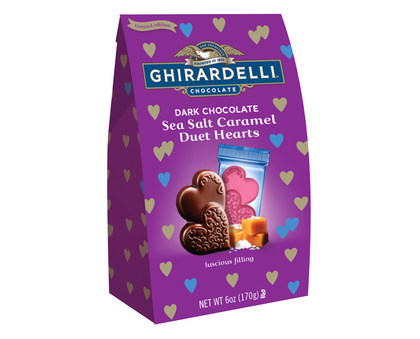 Ghirardelli Valentine's Day Dark Chocolate Sea Salt Caramel Duet Hearts Bag, 6oz