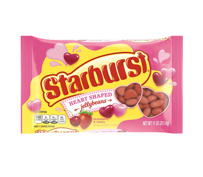 Starburst Valentine's Strawberry & Cherry Heart Shaped Jellybeans, 11 oz