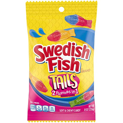 Swedish Fish Tails, 2 Flavors in 1, 8oz