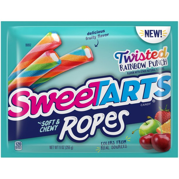 Sweetarts Soft & Chewy Ropes, Twisted Rainbow Punch, 9oz