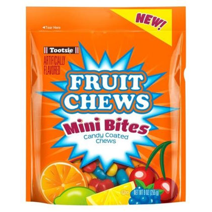 Tootsie Fruit Chews Mini Bites Candy Coated Chews, 9 oz