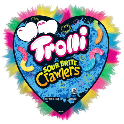 Trolli Sour Brite Crawlers Large Crazy Hair Heart Candy Box, 6oz