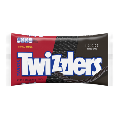 Twizzlers, Black Licorice Flavored Twists Chewy Candy, 16oz