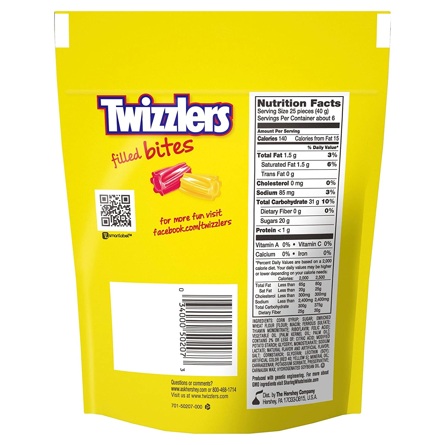 Twizzlers Filled Bites Sweet & Sour Licorice Candy, 8 oz