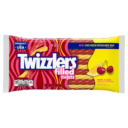 Twizzlers Filled Twists Sweet And Sour Licorice Candy, 11oz