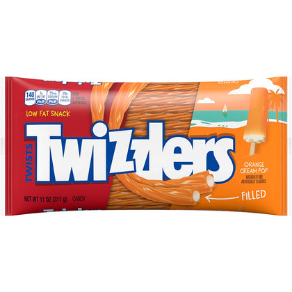 Twizzlers, Filled Orange Cream Pop Twists Chewy Candy, 11oz