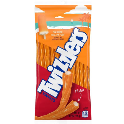 Twizzlers Orange Cream Pop Filled Twists Chewy Candy, 4.25oz