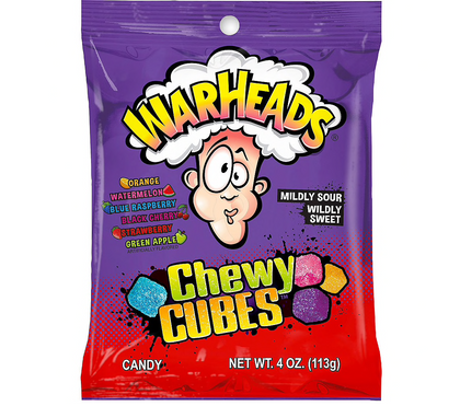 Warheads Cubes, Sour & Sweet Chewy Candy, 4oz