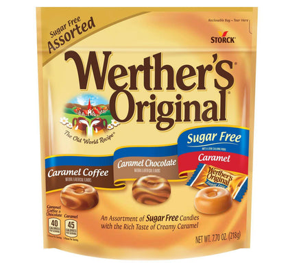 Werther's Original Sugar Free Hard Candies Assortment, 7.7oz Bag