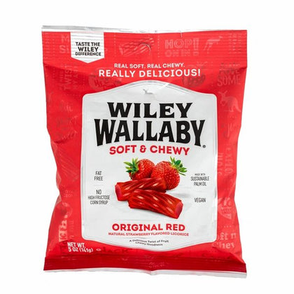 Wiley Wallaby Original Red Licorice, Strawberry Flavor, 5oz