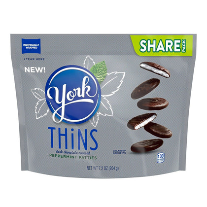 York Thins, Dark Chocolate Peppermint Patties, Share Pack, 7.2oz
