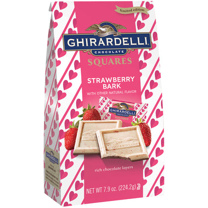 Ghirardelli Chocolate Squares Valentine Strawberry Bark Chocolate Limited Edition, 7.9 Oz