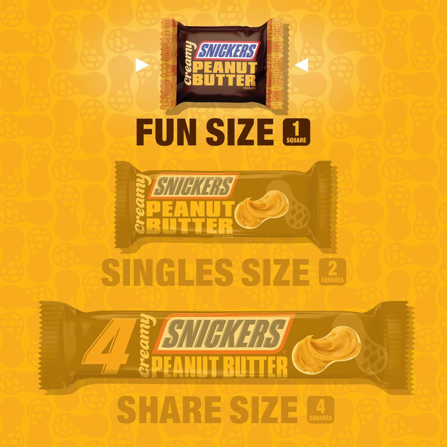 Snickers Creamy Peanut Butter Square Candy Bars, 7.7 Ounce Bag