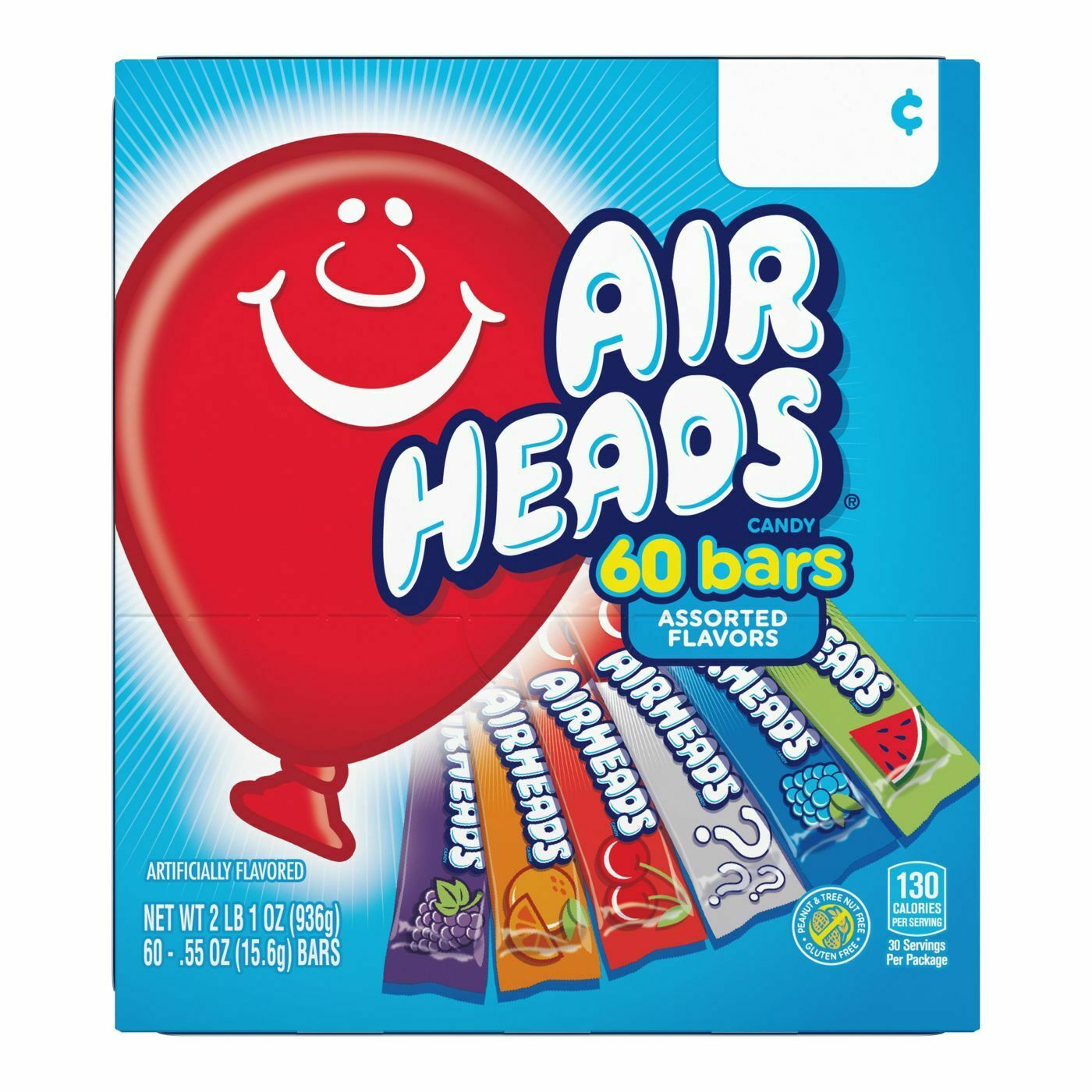 Airheads Mini Bars, Assorted Flavors, 60 bars, 2lb 1oz Box
