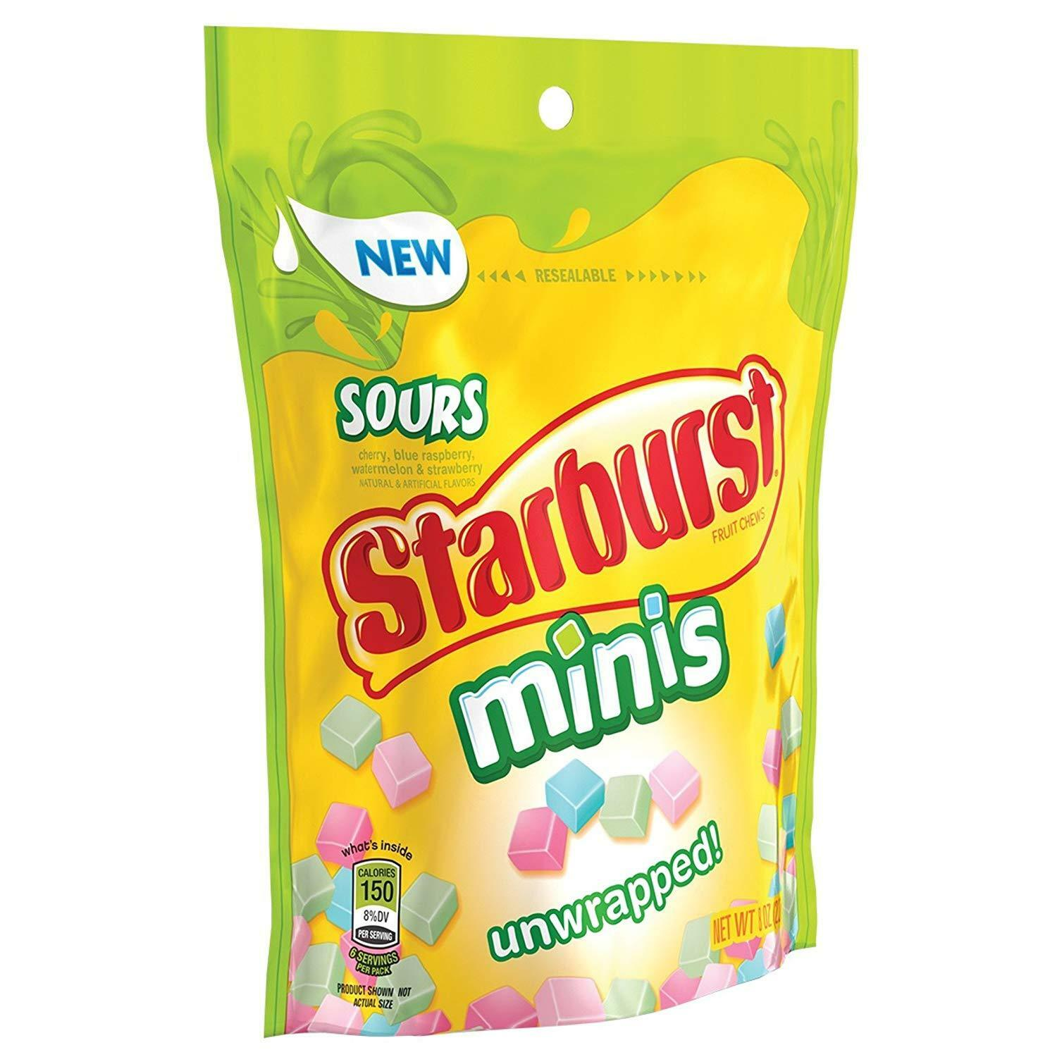 Starburst Sours Minis Unwrapped, Resealable 8oz Bag