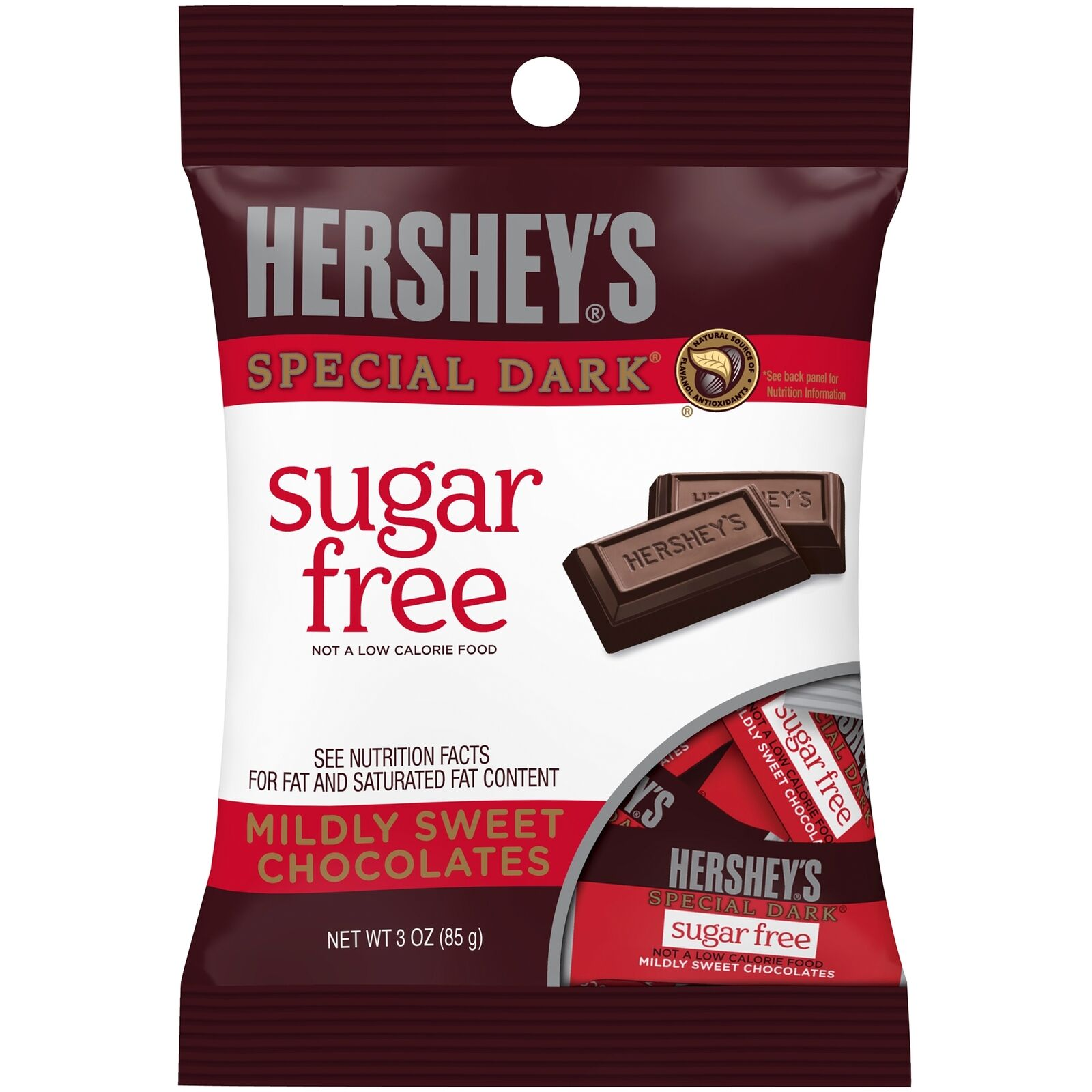 Hershey's Special Dark Mildly Sweet Chocolate Sugar Free Bars, 3oz Bag