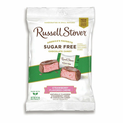 Russell Stover Strawberry Flavored Creme in Chocolate Candy Sugar Free, 3oz Bag