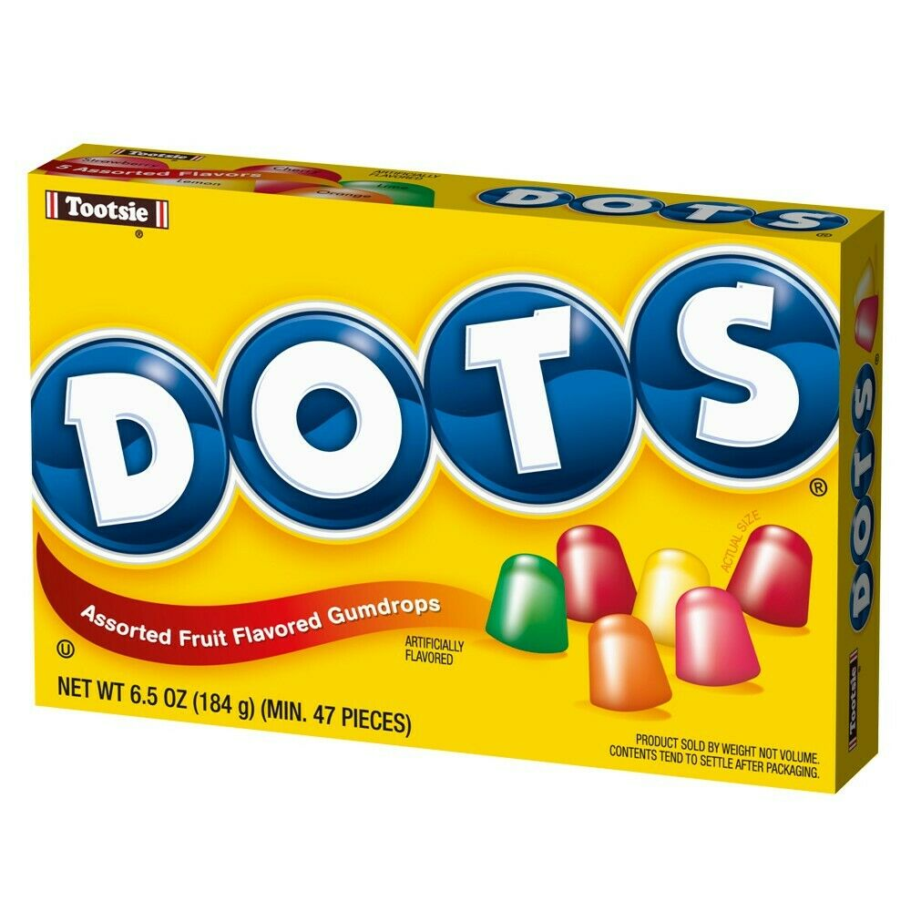 Tootsie Dots Assorted Fruit Flavored Gumdrops Theater Box, 6.5oz