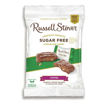 Russell Stover Sugar Free Crunchy Toffee Squares in Chocolate Candy,  3 oz. Bag
