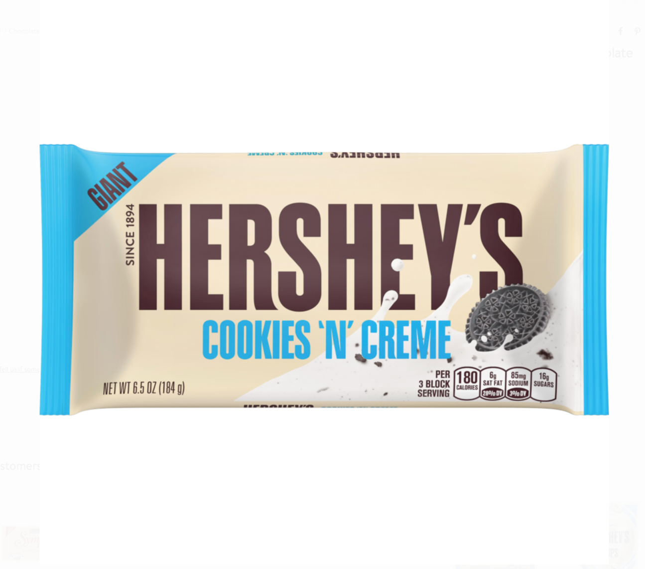 Hershey's Cookies 'N' Creme Giant Candy Bar, 6.5oz
