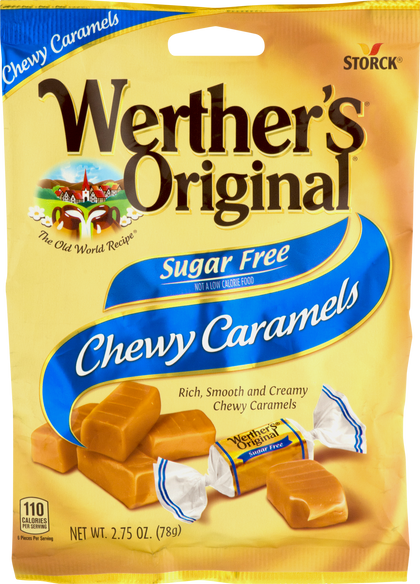 Werther's Original Chewy Caramels Sugar Free, 2.75oz Bag