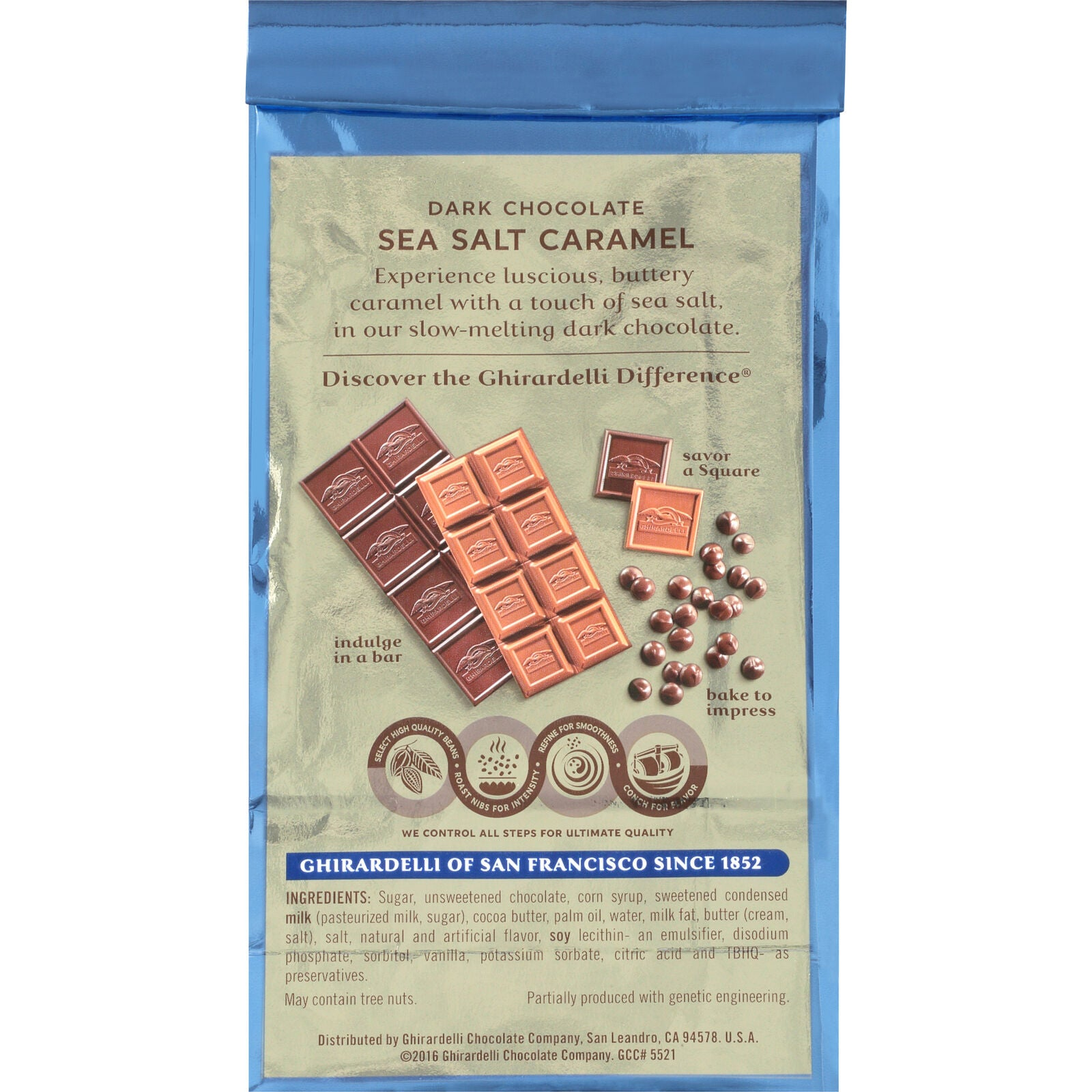 Ghirardelli Dark & Sea Salt Square Caramel Chocolate, 5.32 Oz