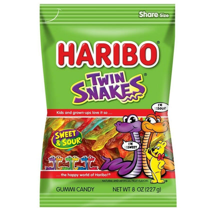Haribo Twin Snakes Sweet & Sour Gummy Candy, 8oz