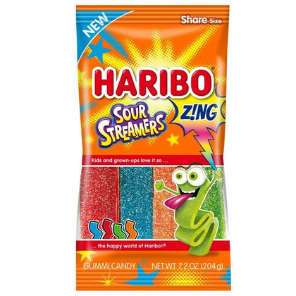 Haribo Z!NG Sour Streamers Chewy Gummi Candy, 7.2oz