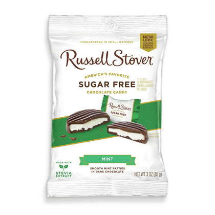 Russell Stover Sugar Free Mint Patties Covered in Dark Chocolate, 3 oz. Bag