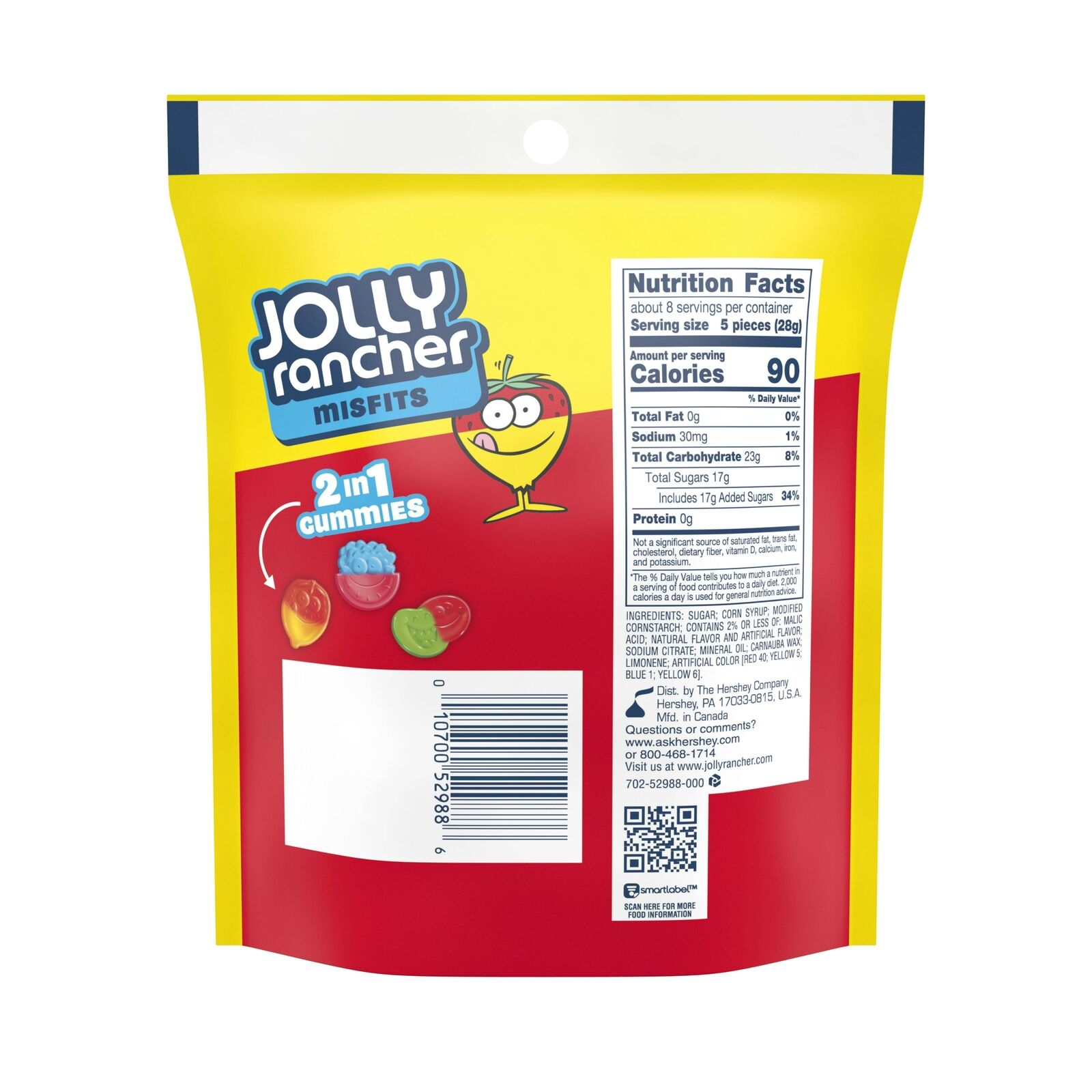Jolly Rancher Misfits Gummy Candy, 8 Oz